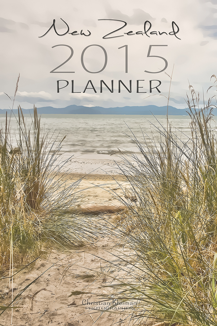 Year 2015 Planner Agenda - Organize your Days, Monthly Dates, Tasks to do and Notes pages. Designed with inspiring photos from New Zealand by © Christian Kleiman
