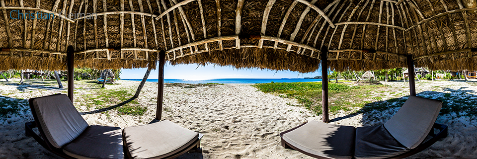 360 Panoramic Photo from a Shade Bure at the beach from Yasawa Island Resort & Spa - Fiji Islands - © Christian Kleiman Photographer, Author, Editor.