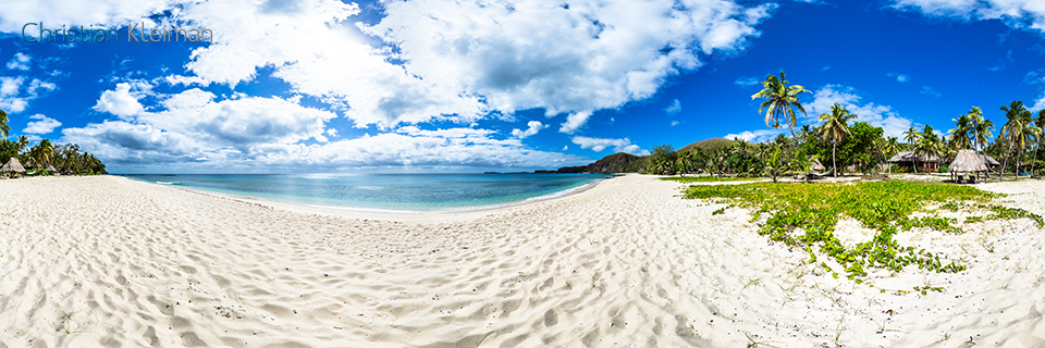 360 Panoramic Photo from the Dazzling Beach of Yasawa Island Resort & Spa - Fiji Islands - © Christian Kleiman Photographer, Author, Editor.