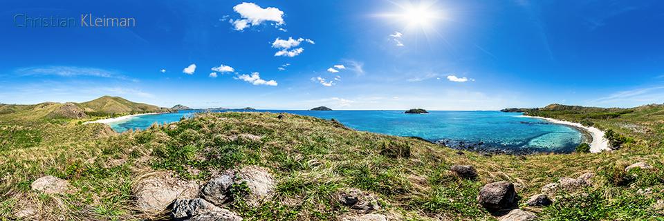 Foto Panorámica 360 de la Bahía de Paradise Beach en Yasawa Island Resort - Islas Fiji - © Christian Kleiman Fotógrafo, Autor y Editor.