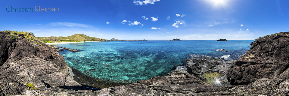 360 Panoramic Photo near Pristine Water from Paradise Beach at Yasawa Island Resort & Spa - Fiji Islands - © Christian Kleiman Photographer, Author, Editor