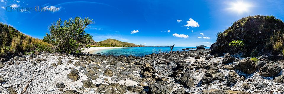 Foto Panorámica 360 de rocas y coral de Paradise Beach en Yasawa Island Resort - Islas Fiji - © Christian Kleiman Fotógrafo, Autor y Editor.