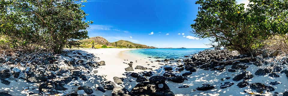 Foto Panorámica 360 de la deslumbrante playa de Paradise Beach en Yasawa Island Resort - Islas Fiji - © Christian Kleiman Fotógrafo, Autor y Editor.