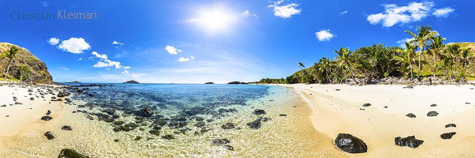 Foto Panorámica 360 de las palmeras de Paradise Beach en Yasawa Island Resort - Islas Fiji - © Christian Kleiman Fotógrafo, Autor y Editor.