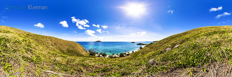 Foto Panorámica 360 de la vista hacia la playa de Paradise Beach 2 en Yasawa Island - Islas Fiji - © Christian Kleiman Fotógrafo, Autor y Editor.