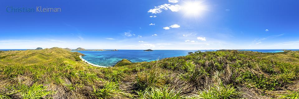 Foto Panorámica 360 de una perspectiva hacia la playa de Paradise Beach 3 en Yasawa Island - Islas Fiji - © Christian Kleiman Fotógrafo, Autor y Editor.
