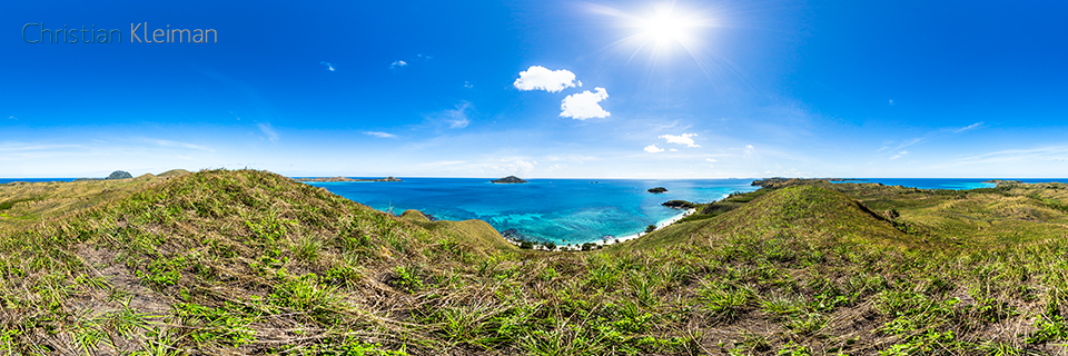 360 Panoramic Photo from a lookout to Paradise Beach 2 at Yasawa Island Resort - Fiji Islands - © Christian Kleiman Photographer, Author, Editor
