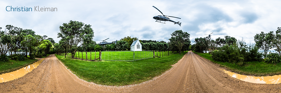 360 Panoramic Photo from a helicopter approach and landing sequence at Man O War Vineyard, Waiheke Island - © Christian Kleiman Photographer, Author, Editor