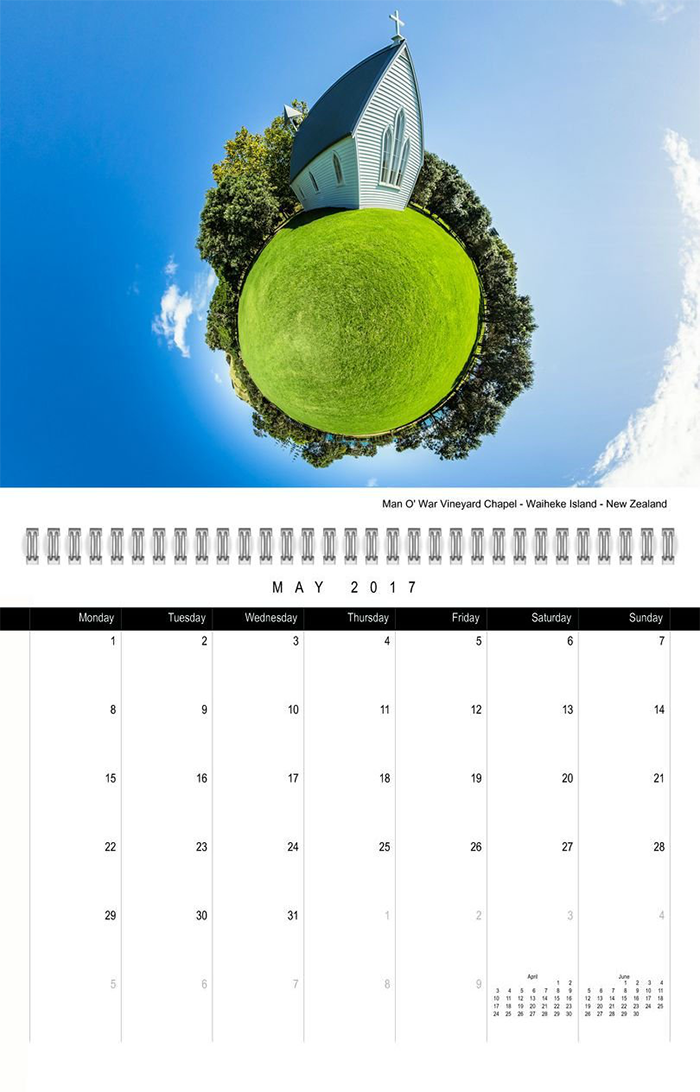 2017 twelve month calendar. Designed with inspiring photos from New Zealand by photographer Christian Kleiman Photographer, Author, Editor