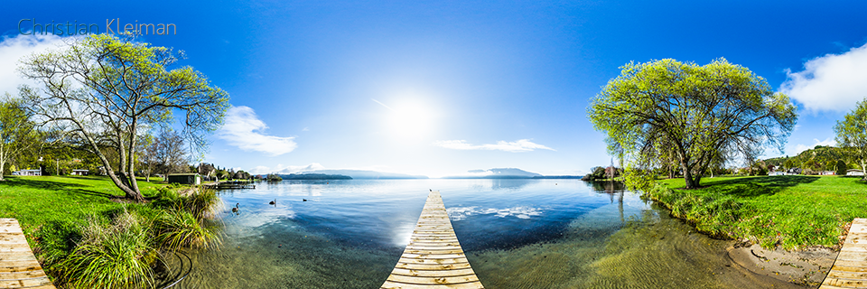 360 Panoramic Photo on a Pier at Lake Tarawera - Rotorua - Bay of Plenty - New Zealand. © Christian Kleiman Photographer, Author, Editor