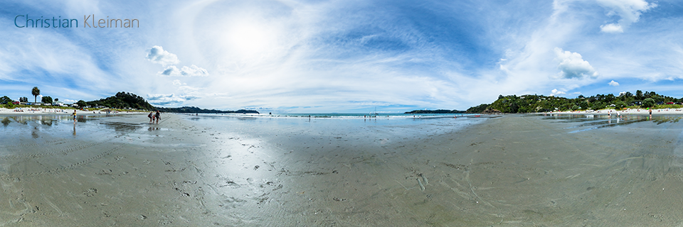 Onetangi Beach at Low Tide - 360 Panoramic Photo by © Christian Kleiman, Photographer, Author. New Zealand 360 Photographic Guide