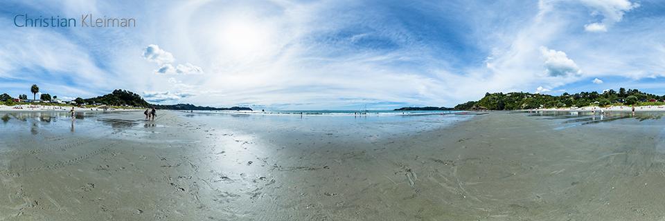 Marea Baja en la Playa de Onetangi - Foto Panorámica 360 - Guía de Fotografía Creativa de Nueva Zelanda - © Christian Kleiman Fotógrafo y Autor