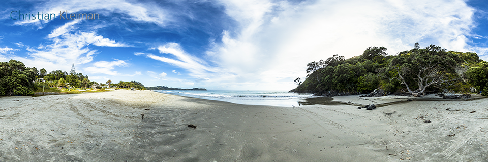 Onetangi Beach close to The Strand Road access - 360 Panoramic Photo by © Christian Kleiman, Photographer, Author. New Zealand 360 Photographic Guide