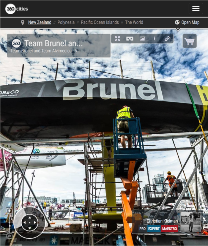 The Boatyard VO65 Team Brunel and Team Alvimedica Maintenance - 360 Pano Photo by © Christian Kleiman - Volvo Ocean Race Auckland Stopover 2015 New Zealand