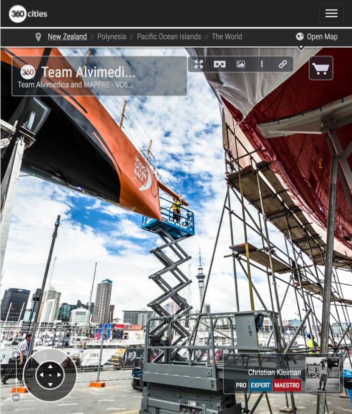Mantenimiento VO65 Team Alvimedica - Foto Panorámica 360 creado por © Christian Kleiman - Volvo Ocean Race 2015 Stopover en Auckland - The Boatyard