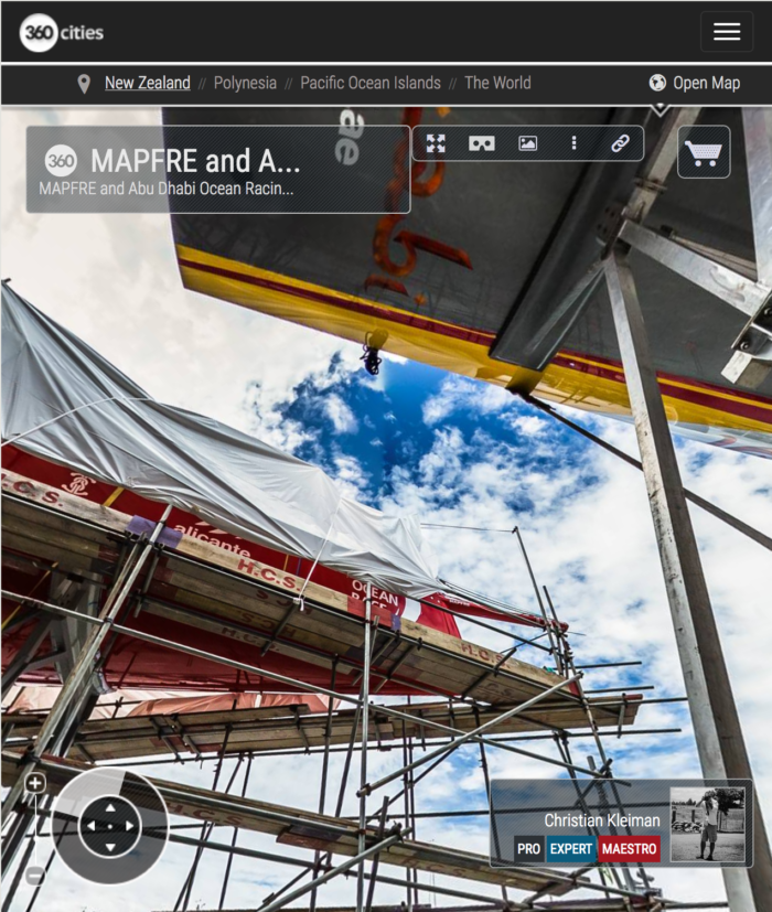 MAPFRE & ADOR VO65 Maintenance - 360 Pano Photo by © Christian Kleiman - Volvo Ocean Race Auckland Stopover 2015 - New Zealand 360 Photo Guide