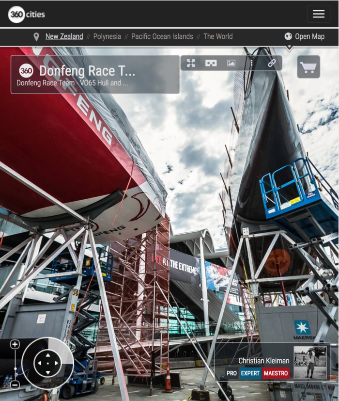 Dongfeng Race Team at The Boatyard - 360 Pano Photo by © Christian Kleiman - Volvo Ocean Race Auckland Stopover 2015 - New Zealand 360 Photo Guide