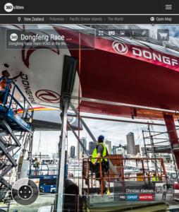 Mantenimiento VO65 Dongfeng Race Team - Foto Pano 360 creado por © Christian Kleiman - Volvo Ocean Race 2015 Stopover en Auckland, Nueva Zelanda