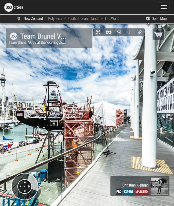 Mantenimiento VO65 Team Brunel - Foto Panorámica 360 creado por © Christian Kleiman - Volvo Ocean Race 2015 Stopover en Auckland, Nueva Zelanda