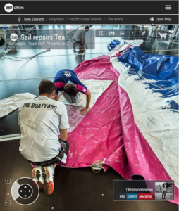 Team SCA sail repair at The Boatyard - 360 Pano Photo by © Christian Kleiman - Volvo Ocean Race Auckland Stopover 2015 New Zealand - Viaduct Events Centre