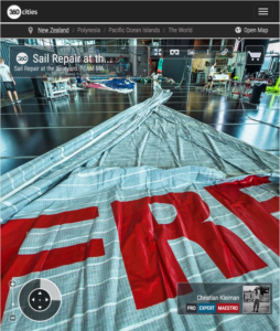 MAPFRE sail repair at The Boatyard - 360 Pano Photo by © Christian Kleiman - Volvo Ocean Race Auckland Stopover 2015 New Zealand - Viaduct Events Centre