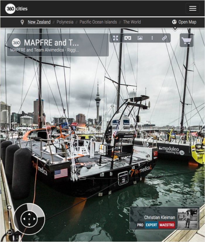 VO65 at the Berthing Pontoons - 360 Panoramic Photo by © Christian Kleiman Photographer & Author - Volvo Ocean Race Auckland Stopover 2015 New Zealand