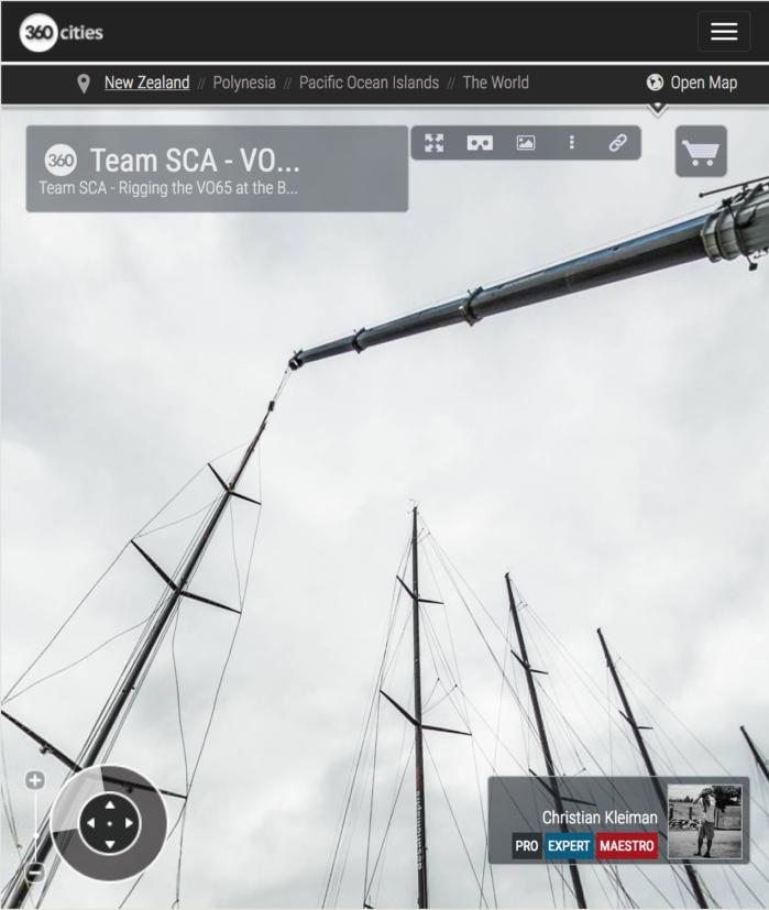 Aparejando el VO65 del Team SCA - Foto Panorámica 360 creado por © Christian Kleiman Fotógrafo, Autor y Editor - Volvo Ocean Race 2015 Stopover en Auckland
