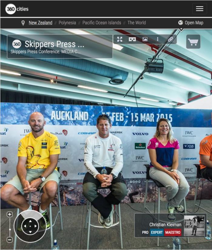 Rueda de Prensa Skippers - Foto Panorámica 360 creado por © Christian Kleiman Fotógrafo, Autor y Editor - Volvo Ocean Race 2015 Stopover en Auckland