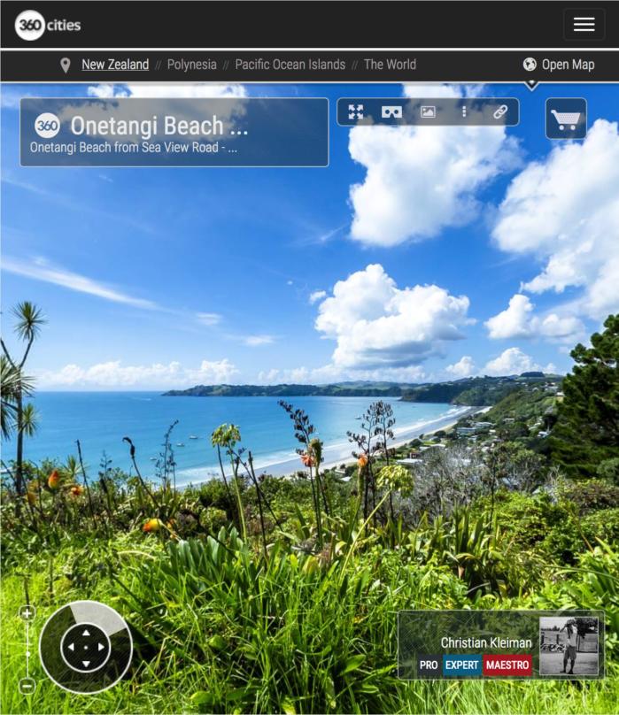 Playa de Onetangi desde Sea View Road - Foto Panorámica 360 - Guía de Fotografía Creativa de Nueva Zelanda - © Christian Kleiman Fotógrafo y Autor
