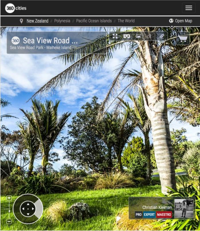 Area de descanso en Sea View Road - Waiheke Island - Foto Pano VR 360 - Guía de Fotografía Creativa de Nueva Zelanda - © Christian Kleiman Fotógrafo y Autor