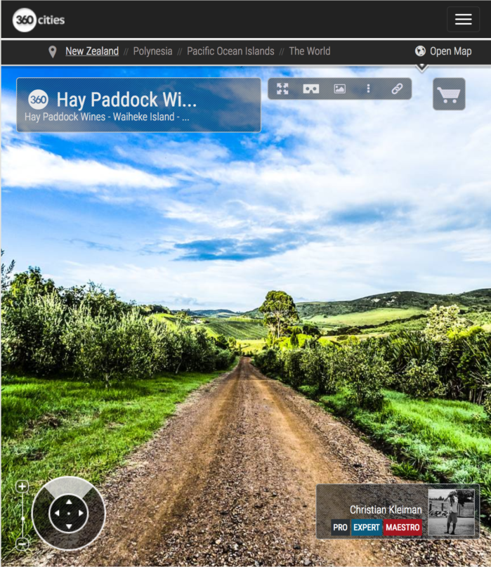 Vinos Hay Paddock - Isla Waiheke - Foto Panorámica 360 - Guía de Fotografía Creativa de Nueva Zelanda - © Christian Kleiman Fotógrafo y Autor