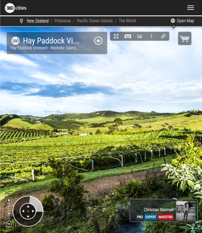 Hay Paddock Vineyard - Waiheke Island - 360 Panoramic Photo by © Christian Kleiman, Photographer, Author. New Zealand 360 Panoramic Photographic Guide