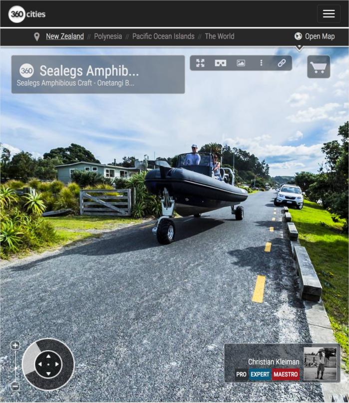 Sealegs Embarcación Anfibia - Isla Waiheke, Nueva Zelanda - Foto Pano VR 360 - Guía de Fotografía Creativa de NZ - © Christian Kleiman Fotógrafo y Autor