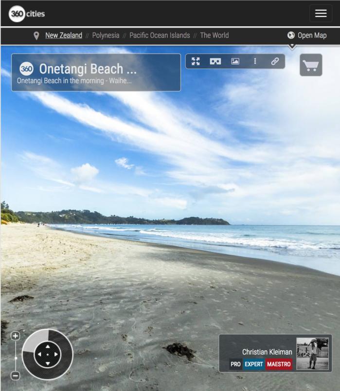 Playa de Onetangi por el acceso de The Strand Road - Isla Waiheke - Foto Pano VR 360 - Guía de Fotografía Creativa de Nueva Zelanda por © Christian Kleiman
