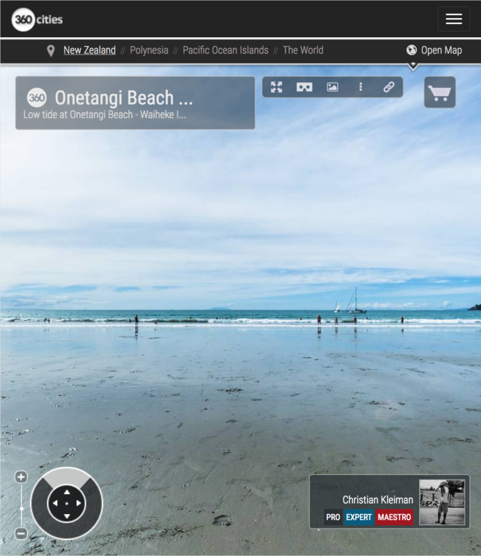 Marea Baja en la Playa de Onetangi - Isla Waiheke - Foto Pano VR 360 - Guía de Fotografía Creativa de Nueva Zelanda - © Christian Kleiman Fotógrafo y Autor