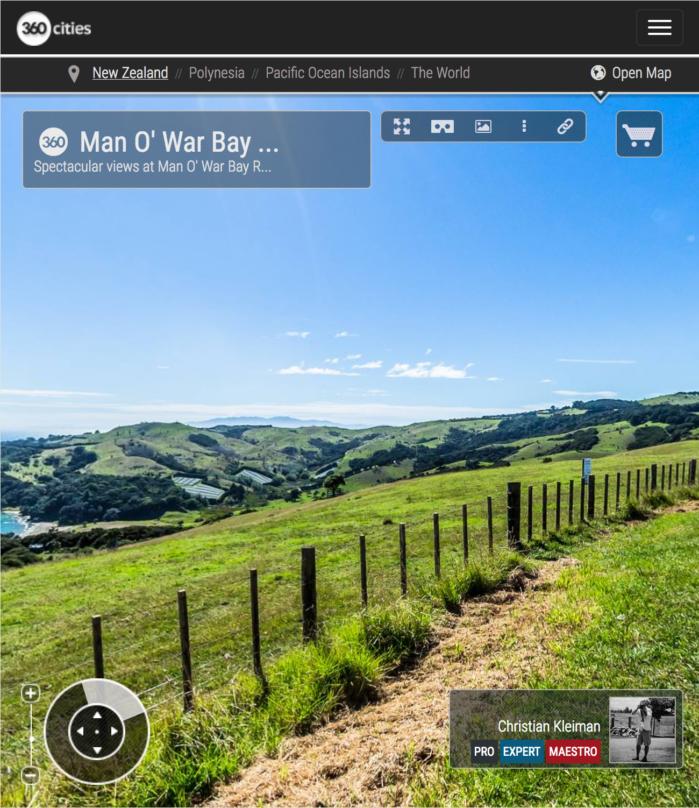 Vistas espectaculares por Man O' War Bay Road - Isla Waiheke - Foto Pano 360 - Fotografía Creativa de Nueva Zelanda - © Christian Kleiman Fotógrafo y Autor