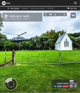 Foto Panorámica VR 360 de la secuencia de aterrizaje de un helicóptero en los viñedos de Man O War en la Isla Waiheke de Nueva Zelanda - © Christian Kleiman