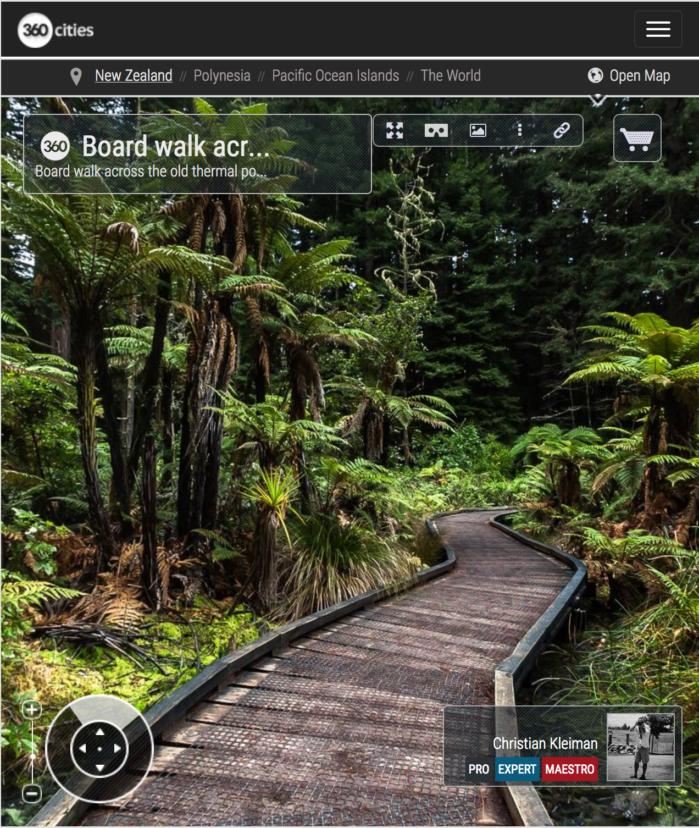 Foto Panorámica 360 del antiguo estanque termal - Redwoods de Whakarewarewa Forest - Rotorua, Nueva Zelanda. © Christian Kleiman Fotógrafo, Autor y Editor