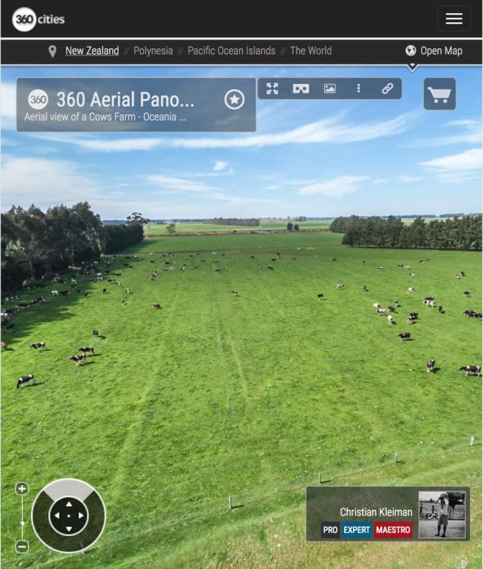Ganadería en Waimate - Foto Panorámica 360 Aérea - © Christian Kleiman Fotógrafo - Ganaderías y Vacas Lecheras en Waimate - South Canterbury - Nueva Zelanda