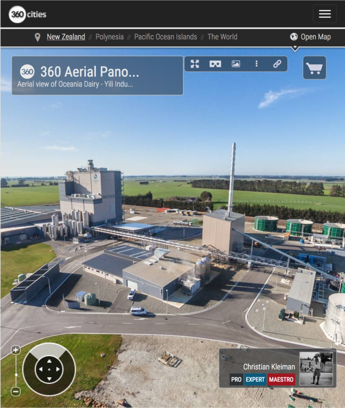 Milk Processing Factory in New Zealand - Aerial 360 VR Pano Photo