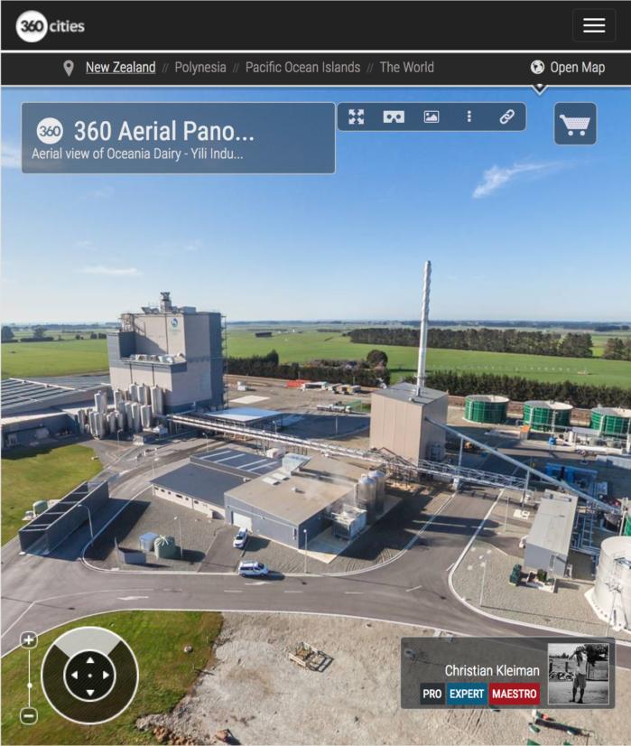 Planta de Procesados Lácteos en Nueva Zelanda - Foto Pano 360 VR Aérea