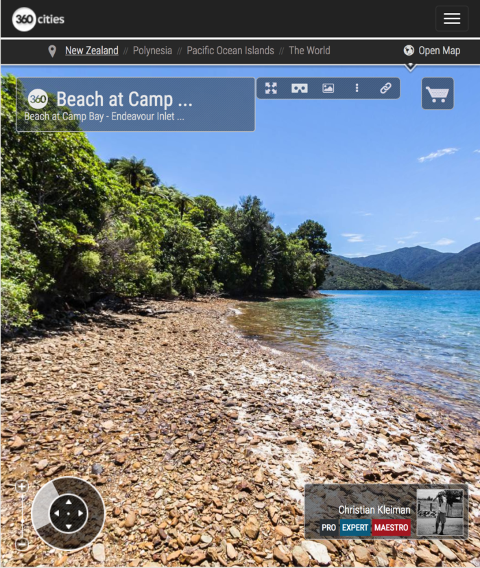 Beach at Camp Bay - Endeavour Inlet, New Zealand - 360 VR Pano Photo