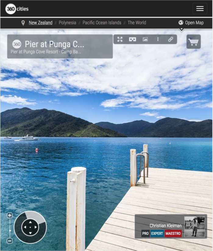 Embarcadero de Punga Cove - Endeavour Inlet, Nueva Zelanda - Foto Pano 360 VR
