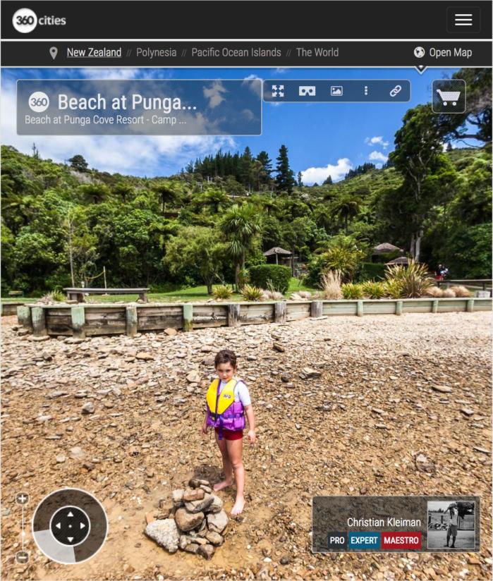Playa de Punga Cove - Endeavour Inlet, Nueva Zelanda - Foto Pano 360 VR