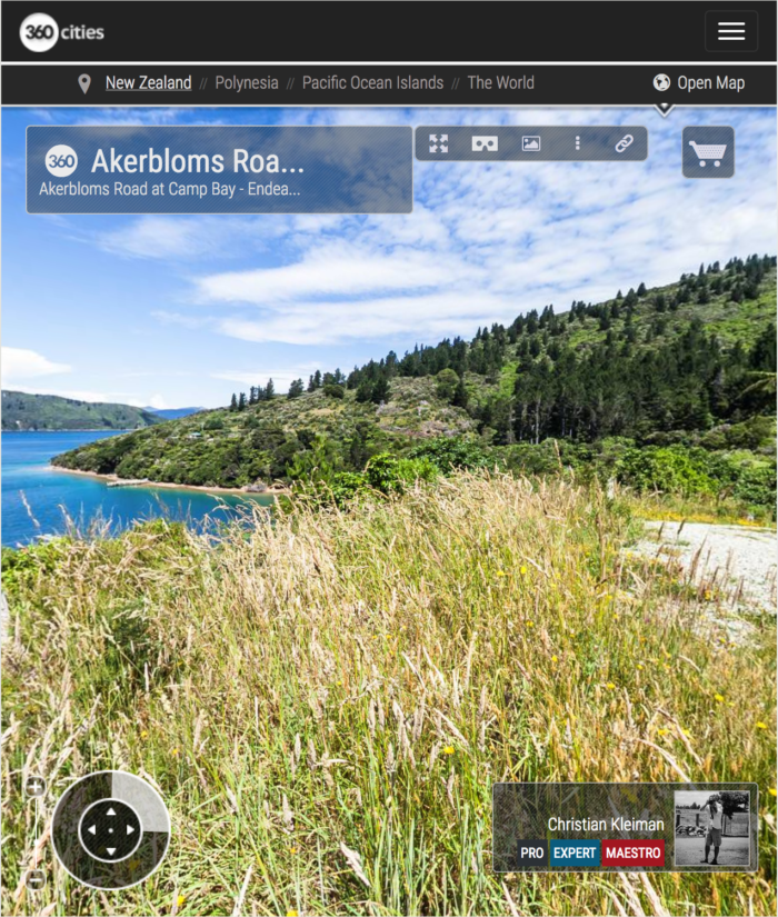 Akerbloms Road, Camp Bay - Endeavour Inlet, New Zealand - 360 VR Pano Photo