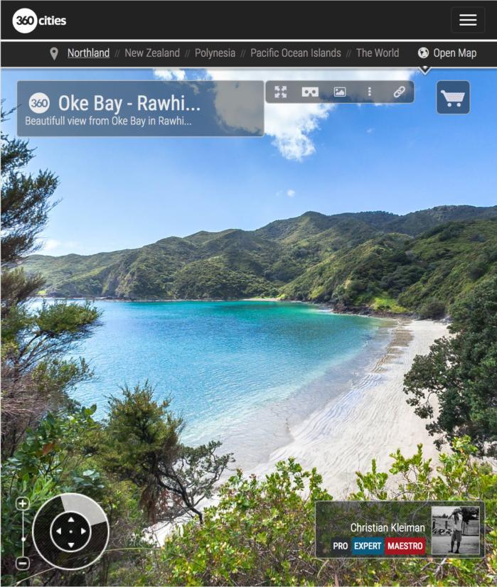 Bahía de Oke - Rawhiti - Bay of Islands, Nueva Zelanda - Foto Pano 360 VR