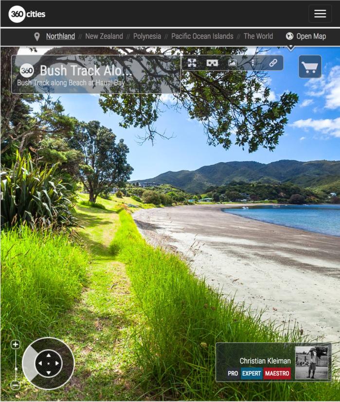 Sendero por la Playa de la Bahía de Hauai - Bay of Islands, Nueva Zelanda - Foto Pano 360 VR