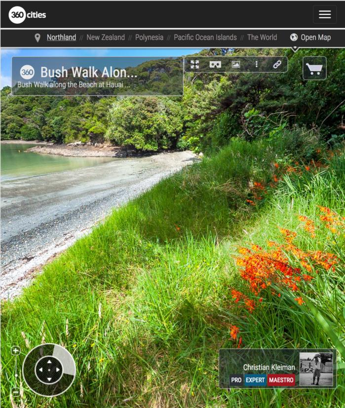Sendero junto a la playa de la Bahía de Hauai - Bay of Islands, Nueva Zelanda - Foto Pano 360 VR