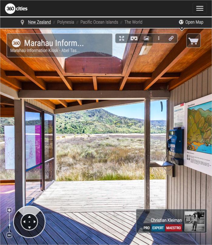 Kiosko Info - Parque Nacional Abel Tasman, Nueva Zelanda - Foto Pano 360 VR