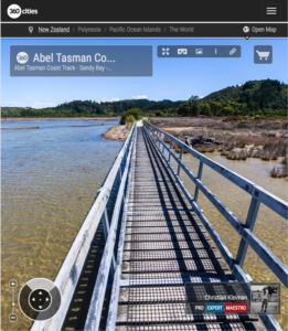 Puente en Sandy Bay - Parque Nacional Abel Tasman, Nueva Zelanda - Foto Pano 360 VR